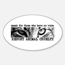 Report Animal Cruelty Cat Oval Decal