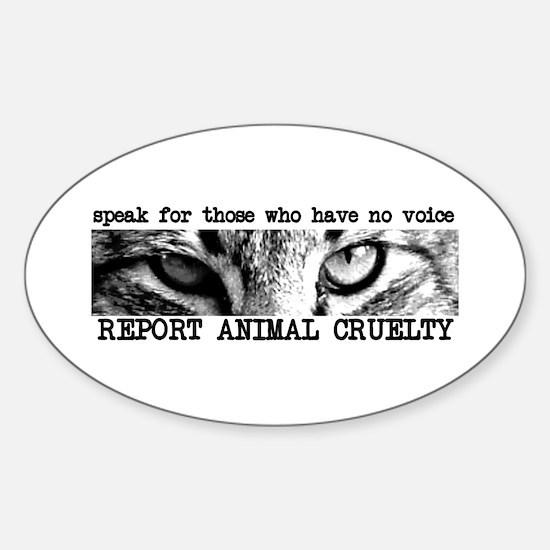 Report Animal Cruelty Cat Oval Decal