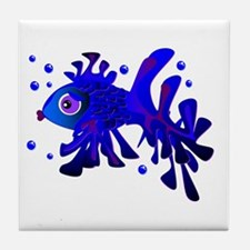 Blue Fish Tile Coaster