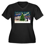 XmasMagic/Corgi (5C) Women's Plus Size V-Neck Dark