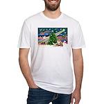 XmasMagic/2 Corgis (P3) Fitted T-Shirt