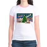 XmasMagic/2 Corgis (P3) Jr. Ringer T-Shirt