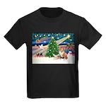 XmasMagic/2 Corgis (P3) Kids Dark T-Shirt