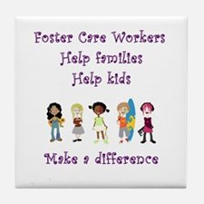Foster Care Workers Tile Coaster