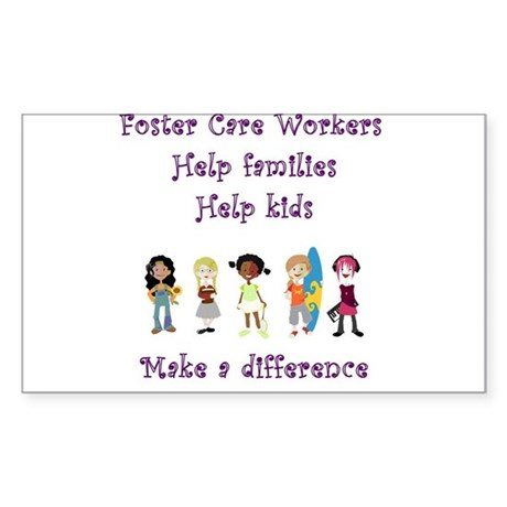 Foster Care Workers Rectangle Sticker