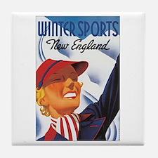 New England Winter Sports Tile Coaster