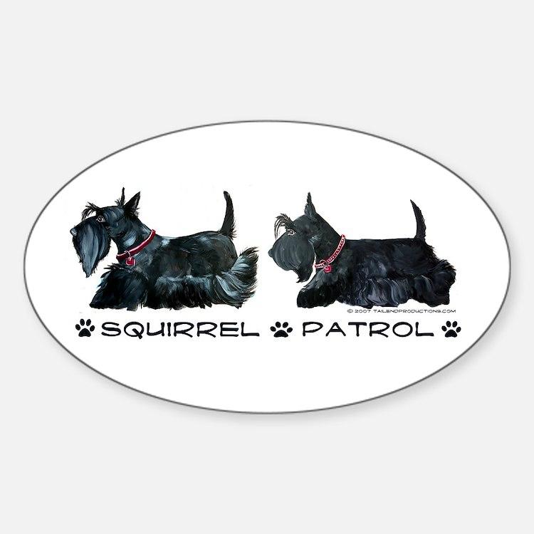 Scottie Squirrel Patrol Terri Oval Decal