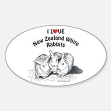 I Love NZW Rabbits Oval Decal