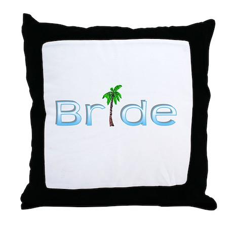 Bride (Palm, Baby Blue) Throw Pillow