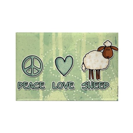 peace love sheep Rectangle Magnet