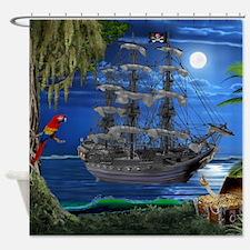 Mystical Moonlit Pirate Ship Shower Curtain