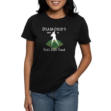 Diamonds - Girls Best Friend Women's Black T-Shirt