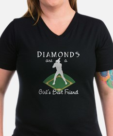 Diamonds - Girl's Best Friend Womens V-Neck Black