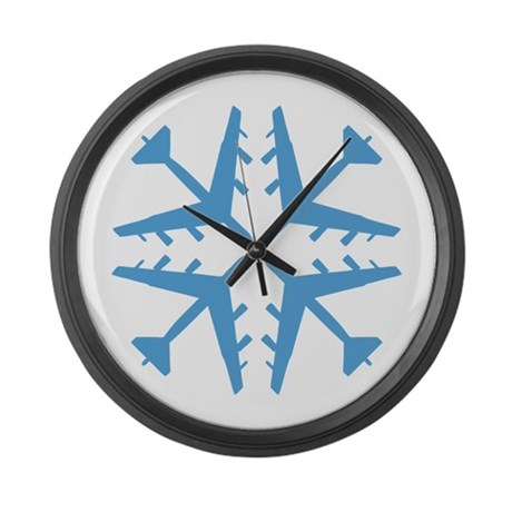 B-52 Aviation Snowflake Large Wall Clock
