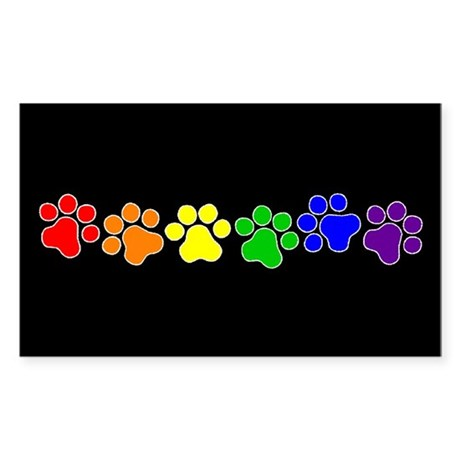 Paw Print Pride Rectangle Sticker 50 pk)