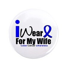 """I Wear Blue For My Wife 3.5"""" Button"""
