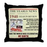 1940 birthday Throw Pillows