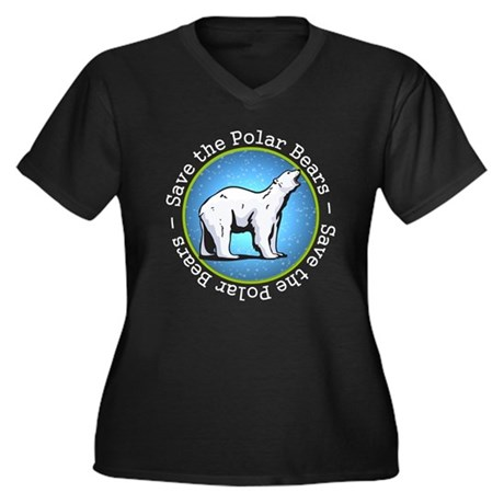 Save the Polar Bears Women's Plus Size V-Neck Dark