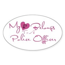 My Heart Blongs to a Police O Oval Decal