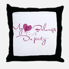 My Heart Blongs to a Deputy Throw Pillow