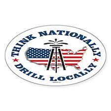 Drill Locally Oval Sticker (10 pk)