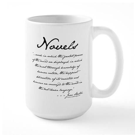 Jane Austen on Novels Large Mug