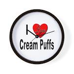 I Love Cream Puffs Wall Clock