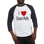 I Love Cream Puffs (Front) Baseball Jersey