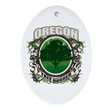 Tree Hugger Oregon Oval Ornament