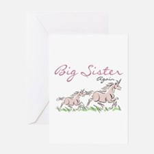 Unicorn Big Sister Again Greeting Card