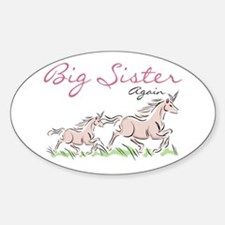 Unicorn Big Sister Again Oval Decal