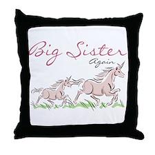 Unicorn Big Sister Again Throw Pillow