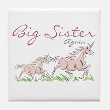 Unicorn Big Sister Again Tile Coaster