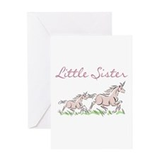Unicorn Little Sister Greeting Card