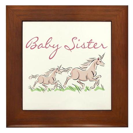 Unicorn Baby Sister Framed Tile