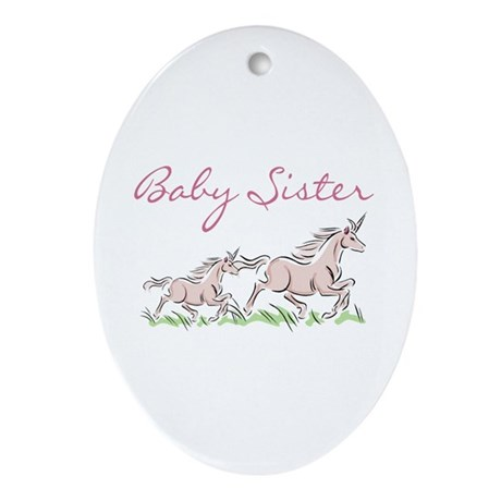 Unicorn Baby Sister Oval Ornament