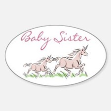 Unicorn Baby Sister Oval Decal