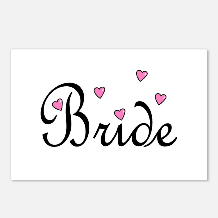 Bride (Pink Hearts) Postcards (Package of 8)