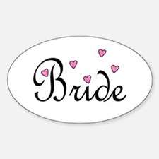 Bride (Pink Hearts) Oval Decal