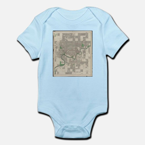 Vintage Map of Edmonton Canada (1912) Body Suit