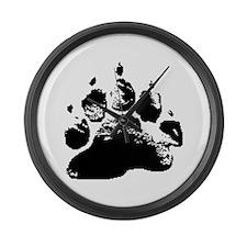 BLACK ABSTRACT BEAR PAW Large Wall Clock