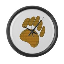 GOLD BEAR PAW Large Wall Clock
