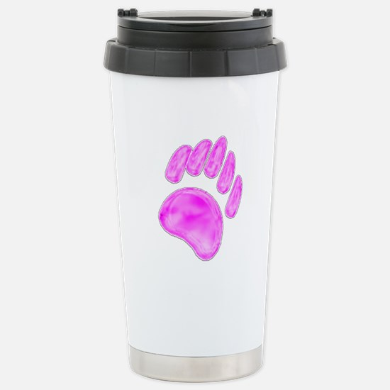 PINK/WHITE BEAR PAW Stainless Steel Travel Mug