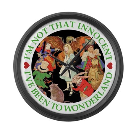 I'VE BEEN TO WONDERLAND - GREEN Large Wall Clock