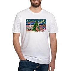 XmasMagic/2 Weimaraners Fitted T-Shirt