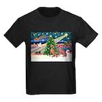 XmasMagic/2 Weimaraners Kids Dark T-Shirt