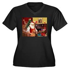 Santa's Vizsla Women's Plus Size V-Neck Dark T-S