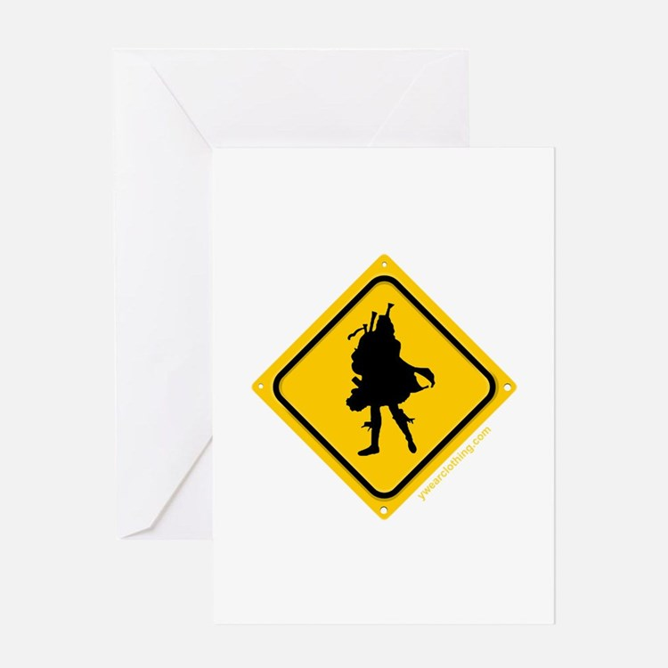 Bagpipe Player Crossing Greeting Card