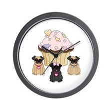 Pug Dog Cupcakes Wall Clock