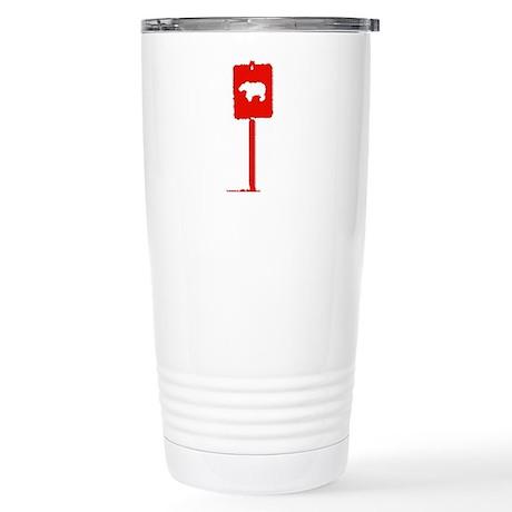 BEAR CROSSING SIGN/RED Stainless Steel Travel Mug